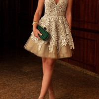 Champine Homecoming Dress,  Lace Applique Elegant Homecoming Dress, Party Dress