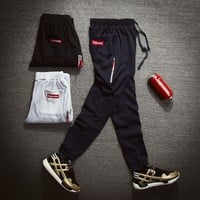 Cotton Embroidery Zippers Knit Sports Pants [390691094564]