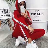 OFF-White Women Leisure Print Hoodie Sweater Pants Set Two Piece Sportswear