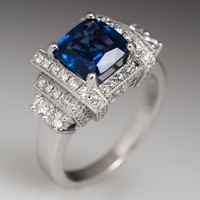 2.26 Carat Unheated Blue Sapphire Engagement Ring 18K White Gold