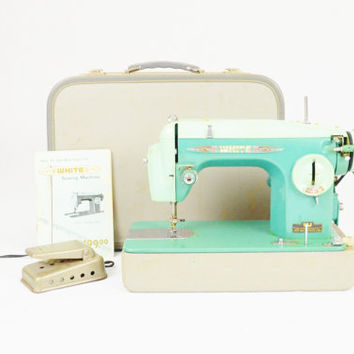 Mint Green Mid Century Sewing Machine - White Sewing Machine Corp