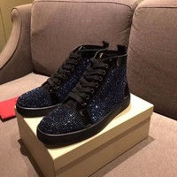 Christian Louboutin CL Louis Strass Men's Flat Black Blue Shoes - Best Online Sale