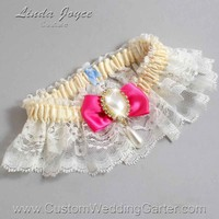 """Fuchsia and Ivory Lace Wedding Garter """"Victoria 10"""" Gold"""