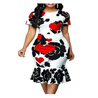 felainse29 Round neck short-sleeved printed slim-fit hip dress with ruffles