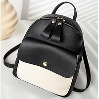 New fashion contrast color leather book school bag backpack bag handbag Black