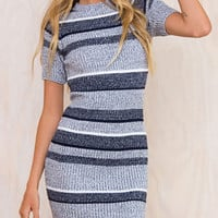 Women's Blue Striped Short Sleeve Mini Knit Bodycon Dress