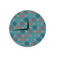 "Jolene Heckman ""Turquoise Mini"" Teal Flowers Wall Clock"