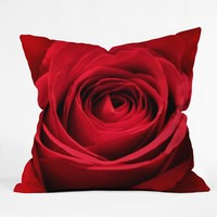 Shannon Clark Red Rose Throw Pillow