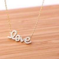 LOVE necklace with Swarovski crystals in gold  by bythecoco