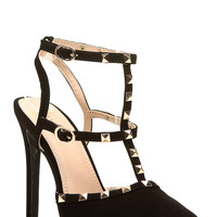 Black Faux Nubuck Ankle Strap Studded Pointed Toe Heels