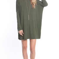 OLIVE OVERSIZE TUNIC DRESS (made from Bamboo)