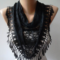 Black Lace Fabric Shawl / Scarf with Lace Edge by SwedishShop