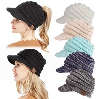 2018 New Solid Color Ponytail CC Beanies Hats & Caps Women Winter Knitted Wool Cap Girls Casual Hip-Hop Skullies Beanie Warm Hat