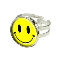 Smile Smiley Face Silver Plated Adjustable Novelty Ring