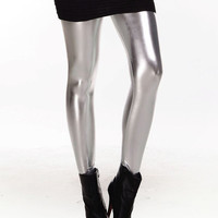 Silver Shiny Metal Leggings