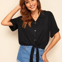 Knot Hem Notched Collar Shirt