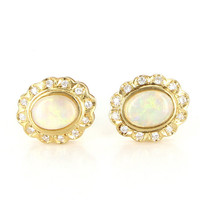 Vintage 14 Karat Yellow Gold Opal Diamond Princess Stud Earrings Estate Jewelry