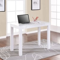 Simple Home Office Computer Laptop Desk with Drawer in White
