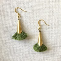 Fringe Earrings in Green