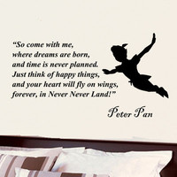 Peter Pan Come with me childrens vinyl decal wall word art sticker decor 32i