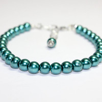 Medium Size Teal Dog Collar. Teal Green Cat Collar with Glass Pearl Beads. Little Dog Jewelry for Fancy Dress. Puppy Collar for Girl Dog.