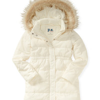 PS from Aero  Kids' Faux Fur Trim Hooded Long Puffer Coat