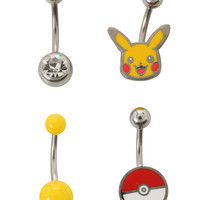 Pokemon 14G Steel Pikachu Navel Barbell 4 Pack