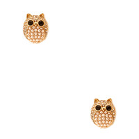 FOREVER 21 Luxe Owl Studs Cream/Gold One