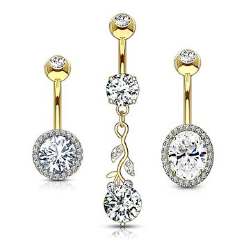 WILDKLASS 3 Pcs Assorted 316L Surgical Steel Belly Navel Ring Gem Box Package