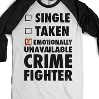 Emotionally Unavailable Crime Fighter (Baseball Tee)-T-Shirt