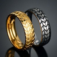 CAXYBB Tire ring Rivet Ring Vintage Jewelry Punk Rock Stainless Steel Men's Jewelry Party Jewelry