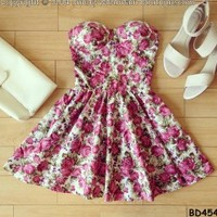 Marie Floral Retro Bustier Dress with Adjustable Straps