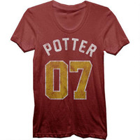 Harry Potter 07 Women's Fitted Burgundy T-Shirt | WBshop.com | Warner Bros.