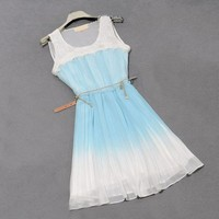 Europe Style Gradient Colour Embroidering Beads Lace Dress