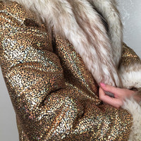 READY TO SHIP - Golden Fox Fake Fur Bohemian Disco Festival Fashion Clothing Coat Jacket Shuba| Burning Man | Symbiosis | Coachella |