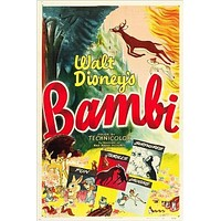 WALT DISNEY'S CLASSIC vintage movie poster BAMBI kid's favorite 24X36 GEM