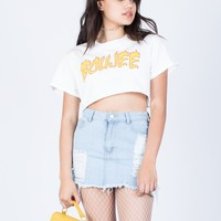 Boujee Flamed Crop Tee