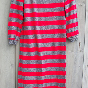 Vintage dress - 1980s gray and red striped sweater dress