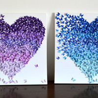 3D Purple Ombre Butterfly Heart / 3D Butterfly Art / Nursery Decor /Girl's Room Art / Wedding Gift /Romantic Statement Art - Made to Order