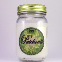 Patchouli Soy Wax Candle (Dye Free, No Phthalates, Vegan, Hand Poured, Mason Jar), 10 oz. Smells Woodsy & Earthy. Hippie Favorite