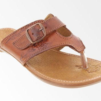 Handmade 100% Genuine Leather Sandals for Women - Brown Thong Flip Flops with Buckle