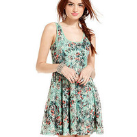 American Rag Juniors Dress, Sleeveless Floral-Print Lace Skater - Juniors Dresses - Macy's