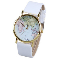 White Vintage Map Watch