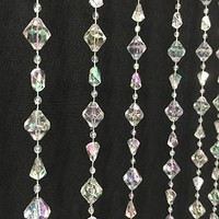 """Crystal Diamond Shaped Beaded Hanging Curtain Prop - 36""""x70"""" - LCPRPC14AB - LAST CALL"""