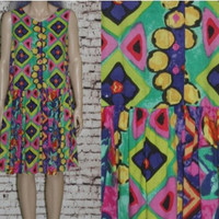 90s Dress Neon Floral Oversize Tent Babydoll Smock Cotton Ethnic XS S M Grunge Boho Hippie Festival 80s Hipster Baby Doll Neon Bright Colors