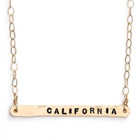 Women's ki-ele 'California' Engraved Pendant Necklace - Gold