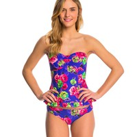 Betsey Johnson Swimwear Mysterious Rose Bandeaukini Top at SwimOutlet.com - Free Shipping