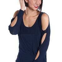 Fio Fio Cold Shoulder Top With Peekaboo Cut Out Sleeves & Back Chains - Navy