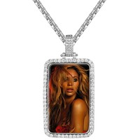 Cage Open Dog tag Photo Holder Pendant Chain