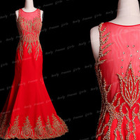 Red Embroidery beading prom dresses,long prom dresses,long evening dress,long prom dresses,red prom dress,evening dress,red bridesmaid dress